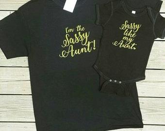 Sassy Aunt & Niece Shirt Set
