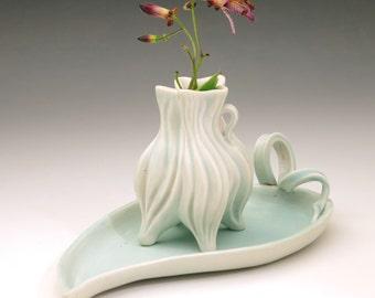 Aqua blue porcelain tray for jewelry or keys, food