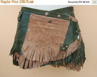 "20%OFF bohemian tribal gypsy fringed leather belt..30"" to 38"" waist or hips.."