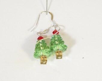 Earrings - Pierced - Crystal- Green Red Light Beige  Swarovski - Silvertone Wires - Trees - Fish Wires