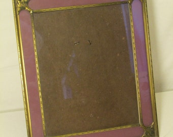 Art Deco Ornate Carved Floral Design Brass Glass Picture Frame with Purple Border