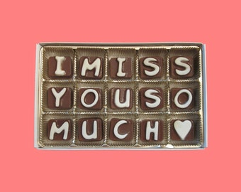 Long Distance Relationship Boyfriend Gift for Men Women BFF Gift I Miss You So Much Cubic Chocolate Letters Message Distant Love Valentines