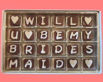 Ask Bridesmaid Gift Will You Be My Bridesmaid Candy Box Cubic Chocolate Letters Invitation Bridesmaid Proposal Card Cute Funny Luxury Gift