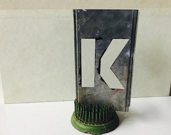 Vintage zinc Stencil Letter K Home Decor Repurpose Alphabet nursery decor