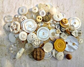 Large Lot Vintage Buttons / Artisan Supplies / Wedding Decor / Button Bouquet Supplies / Great Textures and Colors (G6)