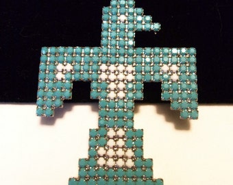 Dorothy Bauer Brooch Thunderbird Native American Design Glass Rhinestone Turquoise Silver Plate Pin Vintage