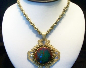 MIRIAM HASKELL Necklace Earrings Red Green Glass Pendant Gold Plate Vintage Set