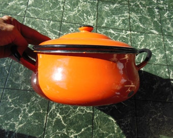 Orange Enamelware Casserole Dish with Lid