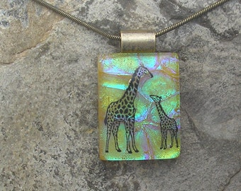 Giraffe Necklace Dichroic Fused Glass Giraffe Pendant