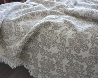 Vintage linen Blanket-- Natural grey & White--Throw-Damask--natural--home decor--double face