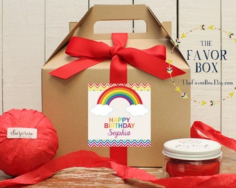 Set of 6 - Rainbow Party Goodie Boxes  - Rainbow Birthday Party Label // Rainbow Party Favor Box // Kids Party Favor Box // Goodie Box