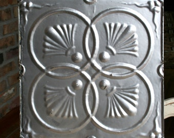 "12"" Antique Tin Ceiling Tile -- Silver Colored Paint -- Pretty Interlocking Cirles Design"