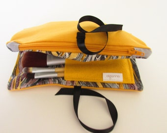 Make Up Bag -Best friend gift- Travel gift- Mustard and Grey -gray