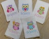 Personalized Owls Burp Cloth Set