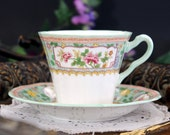 Adderley Bone China Teacup, Tea Cup and Saucer, Vintage Cup Green Trim - 13309