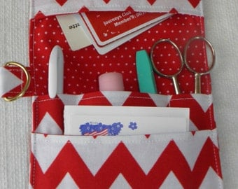 Pocket Organizer, Medical Pocket Organizer, Nurse,  Lab Tech, Scrub Pocket, Vet Tech, Backpack, Red and White Chevron Print, to Ship
