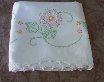 Vintage hand embroidered single standard size pillowcase fancy pink flowers.   C7-322-.25