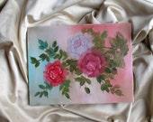 Vintage Still Life Flower Painting - Oil on Canvas - Charming Vintage Cottage Decor