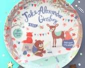 Woodland Friends Personalised Baby Boy Birth Plate