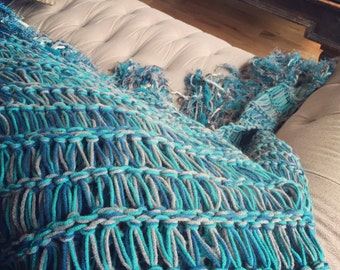 Teal Decor Afghan Teal, Blue Furniture Throw Blanket with Navy and Grey Throw Blanket Afghan