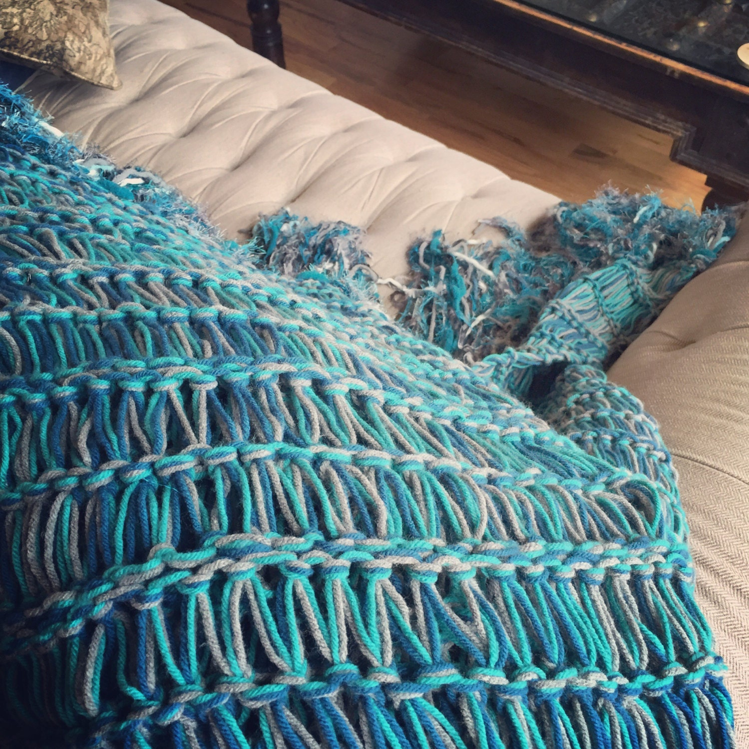 Teal Decor Afghan Teal Blue Furniture Throw Blanket With Navy