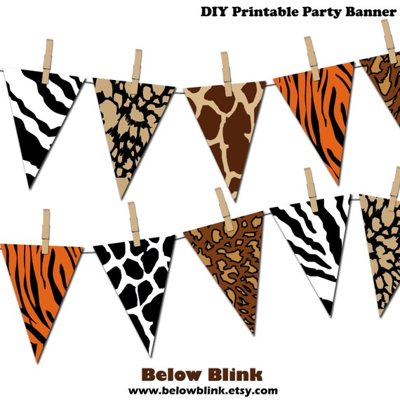 safari banner jungle printable party banner happy birthday