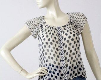 polka dot blouse, vintage sheer top