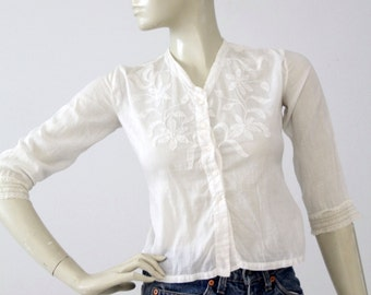 Edwardian blouse, antique white embroidered top xs