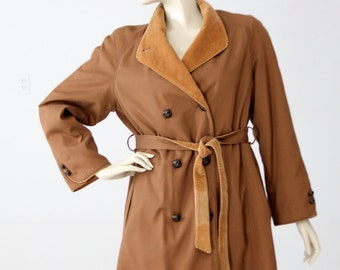vintage 70s trench, brown car coat, cord trim jacket