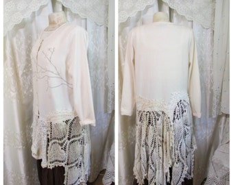 Shabby Doily Sweater, unique ooak cream sweater for women with style, altered couture refashion romantic feminine clothing, LARGE 1XL