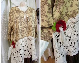 Extra Large Tunic, shabby romantic asymmetric hemline cotton crochet cottage chic womens refashioned top plus size, 3X LARGE