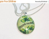 ON SALE St. Patrick's Day Pendant and Chain, Oval Vintage Style Image