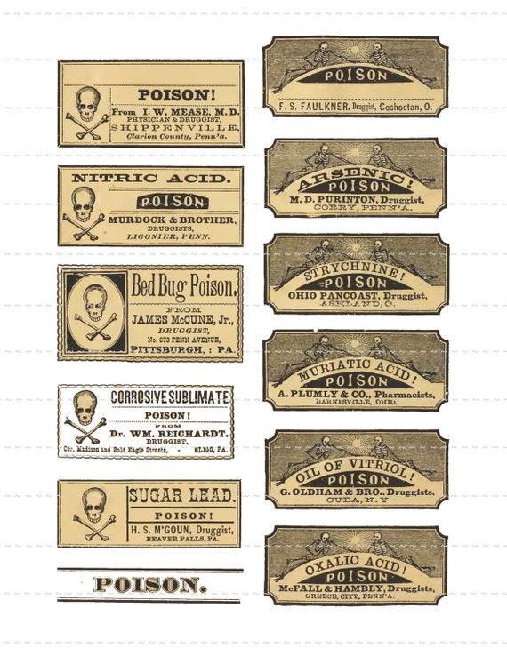 Digital Download Collage Sheet Vintage 1800's Pharmacy Apothecary Druggist Drugstore General Store Poison Skull & Bones Labels Halloween