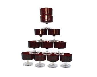 Set of 11 Luminarc Ruby Red Glasses France, Footed Dessert Glasses