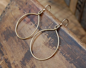 Wire Wrapped Hoop Earrings - Gold