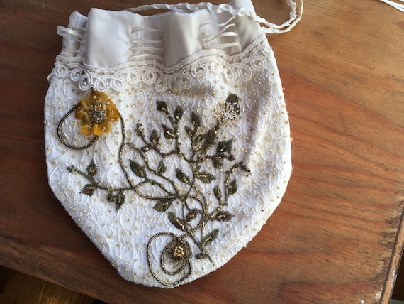 Embroidered Victorian Drawstring Bag, Beaded Drawstring Pouch, Green Beaded Vines and Flowers, Cosplay and Costume