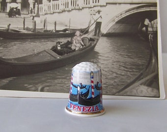 Vintage Thimble Venice Italy Gondolas Thimble Collector Souvenir Italy World Tour Collectable 1980s
