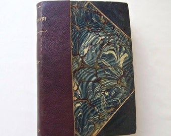 Antique Book Salmagundi Opinions Of Lancelot By Washington Irving Half Leather Marbled Cover ca 1910-1937