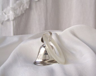 Vintage Sterling Baby Rattle 1950s Lullaby Sterling Bell Shaped Rattle Teething Ring Baby Gift A Tiny Tot Treasure