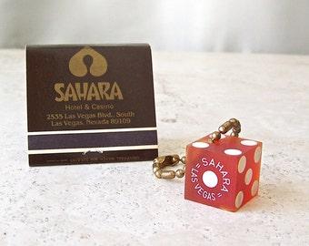 Vintage Die Keychain and Matchbook Las Vegas Sahara Hotel Lucky Die Souvenir Keychain Matchbook ca. 1980s