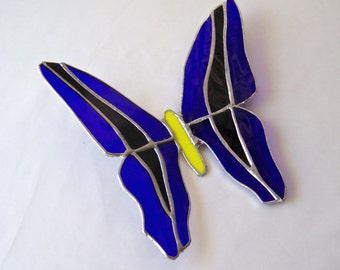 Vintage Stained Glass Butterfly Sun Catcher 1990s