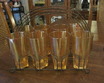 8 Iridescent Glasses with Rack or Carrier