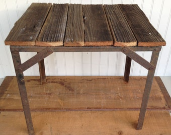 Rustic Metal Table Frame with Barn Wood Top - Rustic Table