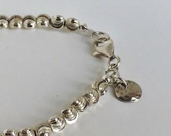 Sterling Silver Diamond Cut Beaded Bracelet