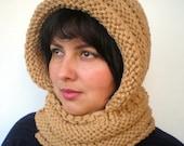 EternityWarm Beige Color    Hoodie Mixed wool  Yarn Hood Woman Chunky  Hooded Cowl NEW