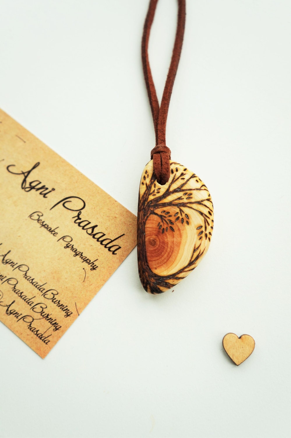 wooden pendant solid wood bead wooden necklace