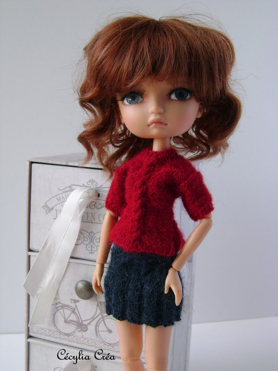 222 french and english knitting pattern pdf sweater and skirt for lila doll 30 cm from. Black Bedroom Furniture Sets. Home Design Ideas
