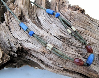Afghanistan Choker Necklace with Hand Cut Lapis Lazuli, Serpentine, and Carnelian Beads, Vintage