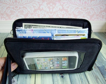cell phone wristlet wallet - convertible clutch wristlet - zip around - organizer - Keep in Touch MEGA Wallet - chalkboard black - (2b)
