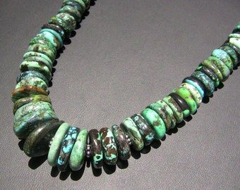 Chinese Turquoise Graduated SS Necklace